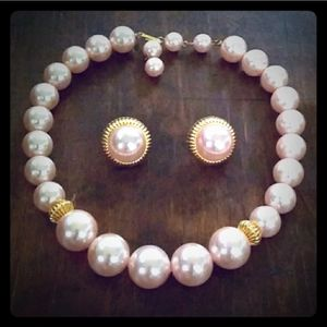 VINTAGE Chunky Pink Pearly Bead Demi Parure Pat.No